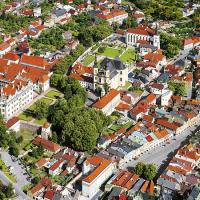 obrázek k Pohled na zámecký areál (vlevo), Klášterní zahrady s kostelem Nalezení a Povýšení sv. Kříže a částí Smetanova náměstí