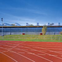 obrázek k Pohled na zastřešený zimní stadion, autorem návrhu Aleš Burian
